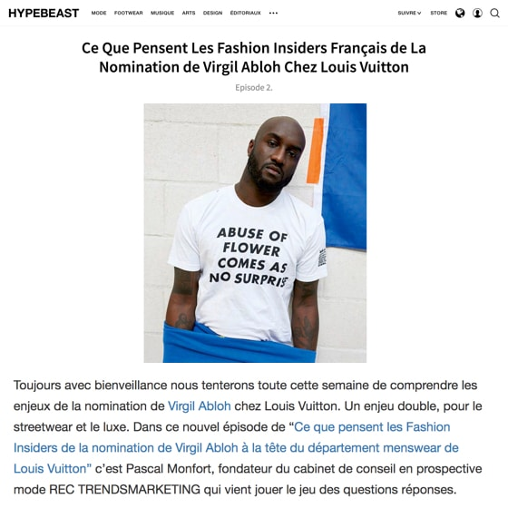 Ce Que Pensent Les Fashion Insiders Français de La Nomination de Virgil Abloh Chez Louis Vuitton