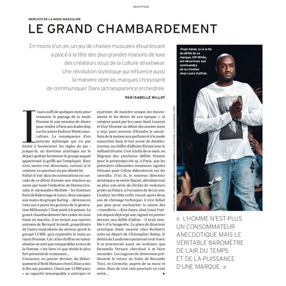 Mercato de la mode masculine : le grand chambardement