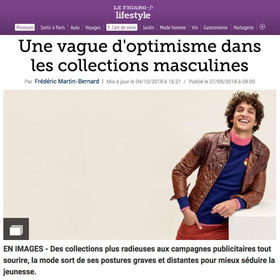 Une vague d'optimisme dans les collections masculines